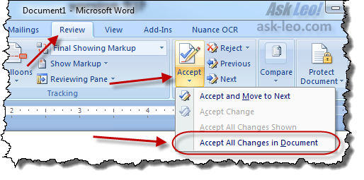 Steps in Word to accept revisions