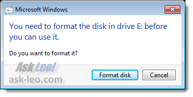 Windows thinks this drive is unformatted