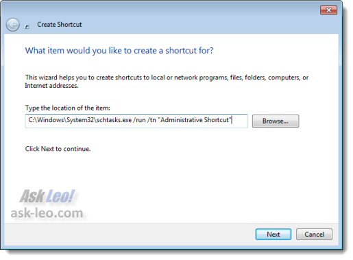 Creating a shortcut for the administrative task