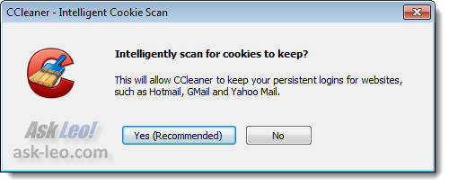 Intelligently scan for cookies to keep?