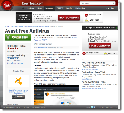 c|net Download.com download page