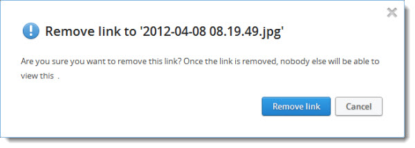 Dropbox remove link warning
