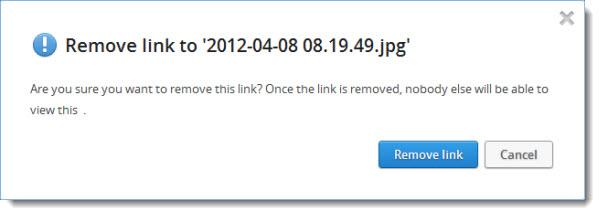 Dropbox remove link warning