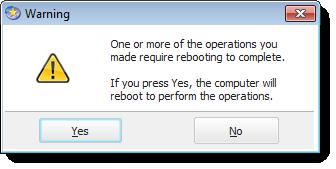 EaseUS reboot required