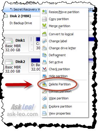 EaseUs - delete partition option