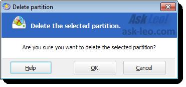 EaseUs - delete partition confirmation