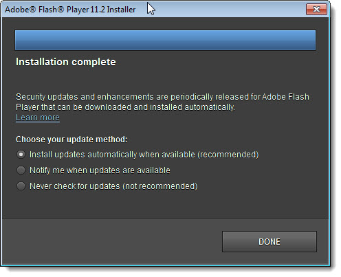 Adobe Flash Installer - Update Options