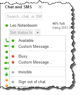 Google's GMail interface showing your chat/Google Talk status