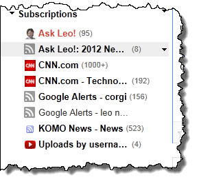 Subscriptions in Google Reader
