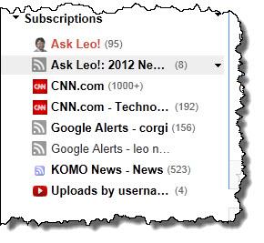 Subscriptions in Google Reader