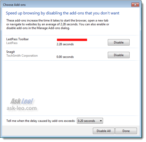 Internet Explorer Choose Add-ons dialog from the 'Speed up browsing' message