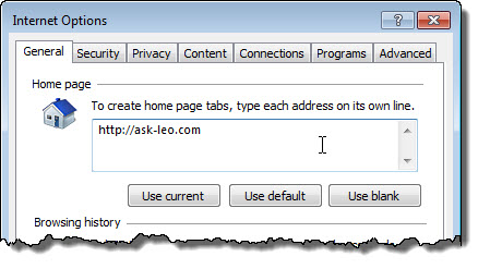 IE Internet options - Home page set to http://ask-leo.com