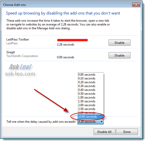 'Speed up browsing' delay threshold