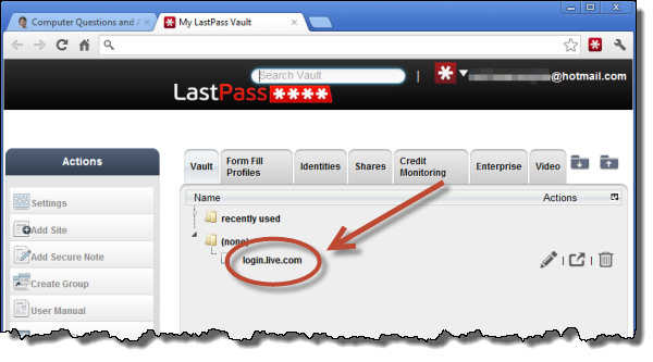 Logging in to a site via LastPass's vault