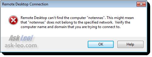 Computer not found