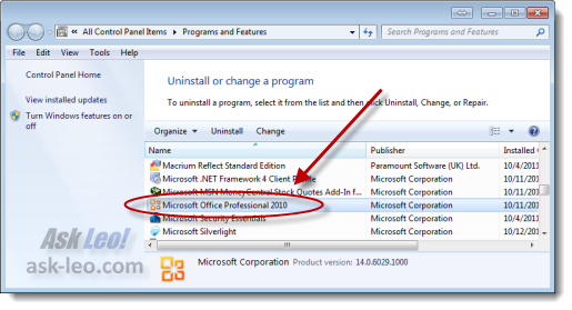 Microsoft Office listed in Control Panel Programs and Features