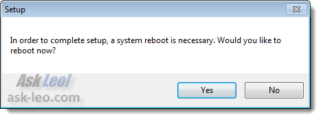 Microsoft Office reboot after setup