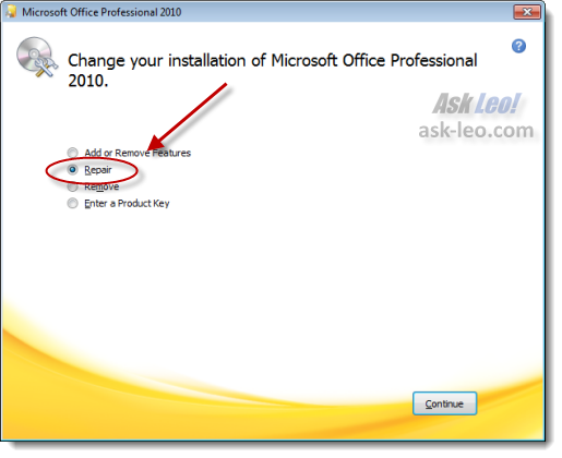 Microsoft Office Setup, repair option