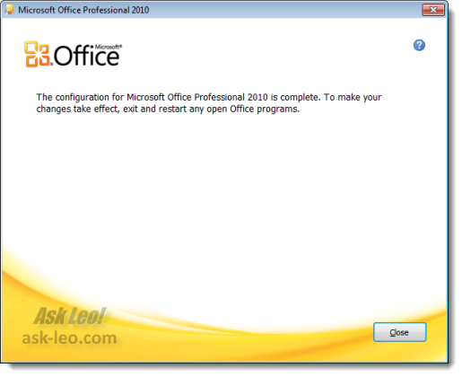 Microsoft Office Repair complete