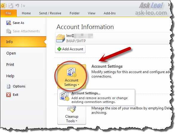 Outlook Account Settings link