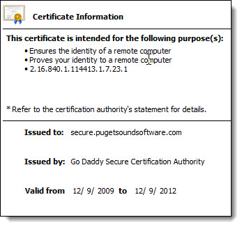 Certificate Information for secure.pugetsoundsoftware.com