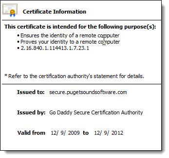 Certificate Information for secure.pugetsoundsoftware.com