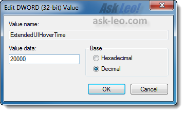 Modifying the setting for ExtendedUIHoverTime