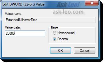 Modifying the setting for ExtendedUIHoverTime
