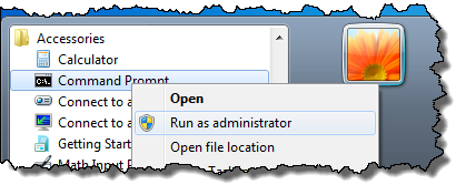 Run as administrator option