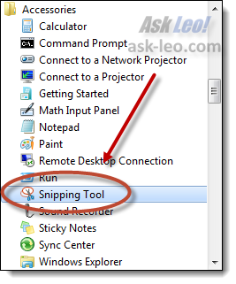 Windows 7 Snipping Tool in All Programs, Accessories