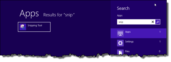 Finding the snipping tool in Windows 8