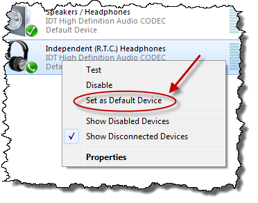 Set as default device in sound device selector
