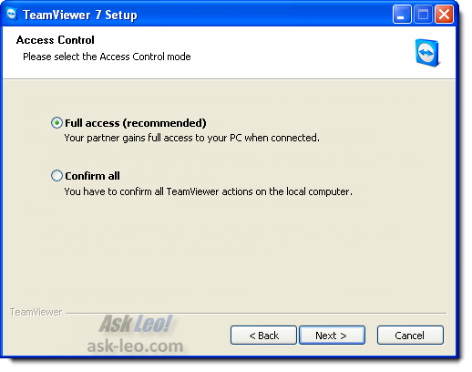 TeamViewer: selecting access control