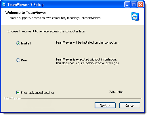TeamViewer Setup: choose to install
