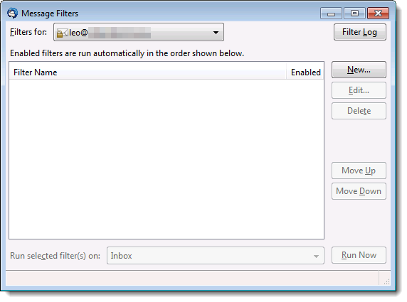 Thunderbird's Message Filters dialog