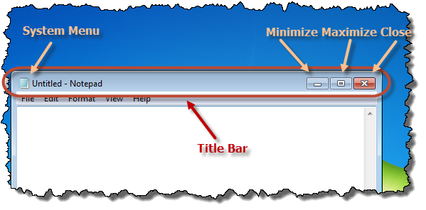 The title bar and its components