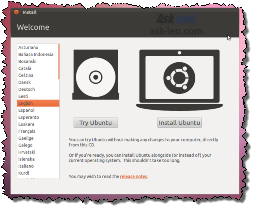 Ubuntu Try or Install choice