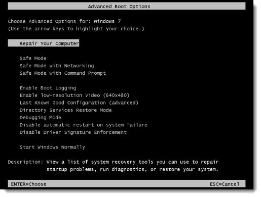 Windows 7 Advanced Boot Options