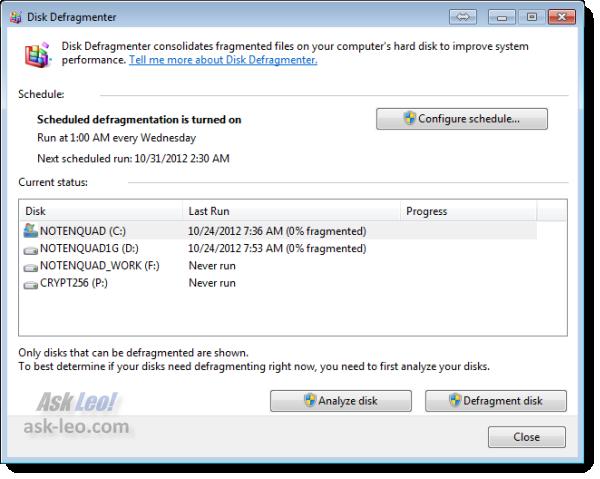 Windows 7 Defragmenting Tool