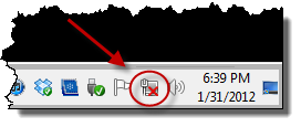 Windows 7 network icon in the taskbar notification area
