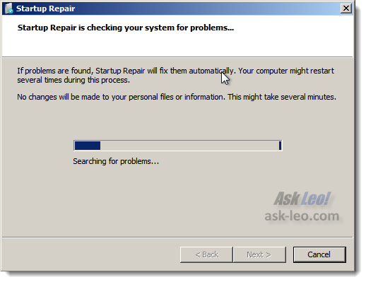 Windows 7 repair, checking for startup errors