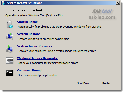 Windows 7 repair, choosing a tool