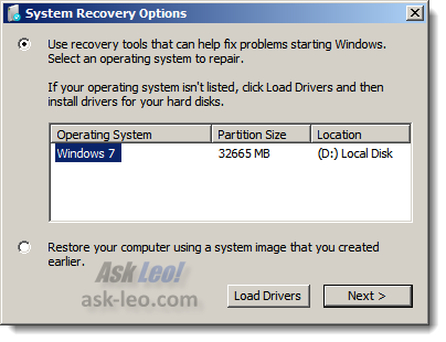 Windows 7 repair selecting which install