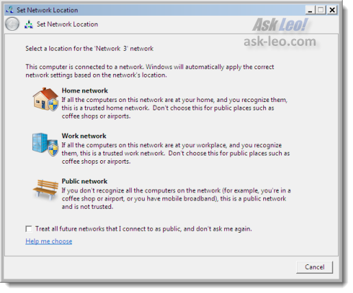 Windows 7 Set Network Location dialog
