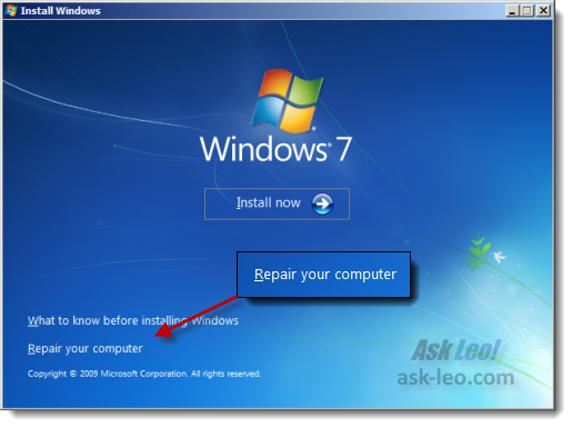 Windows 7 setup program, Install Now page