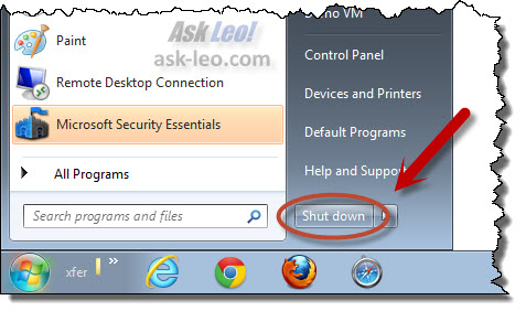 Shutdown button in Windows 7