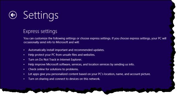Windows 8 Setup Default Options