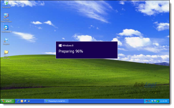 Windows 8 Setup starting in Windows XP