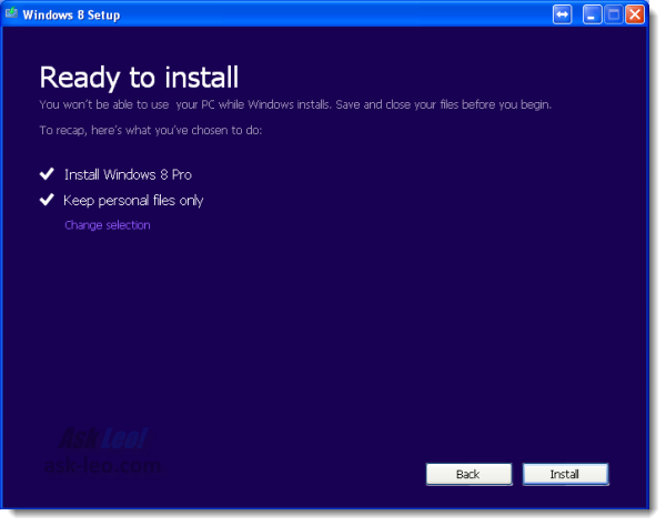 Windows 8 Setup Summary