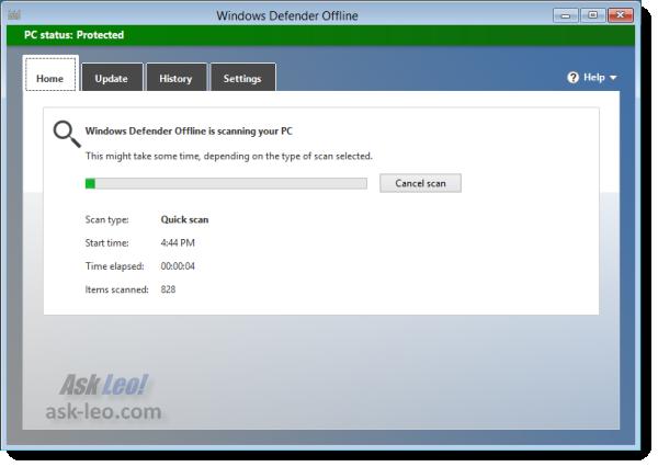 Windows Defender Offline - initial scan